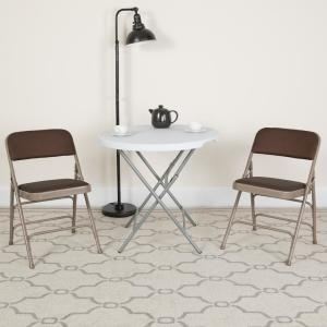 Hercules Series Curved Triple Braced & Double Hinged Brown Patterned Fabric Upholstered Metal Folding Chair