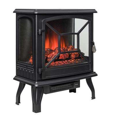 20 in. Freestanding Electric Fireplace Mantel Heater in Black with Logs