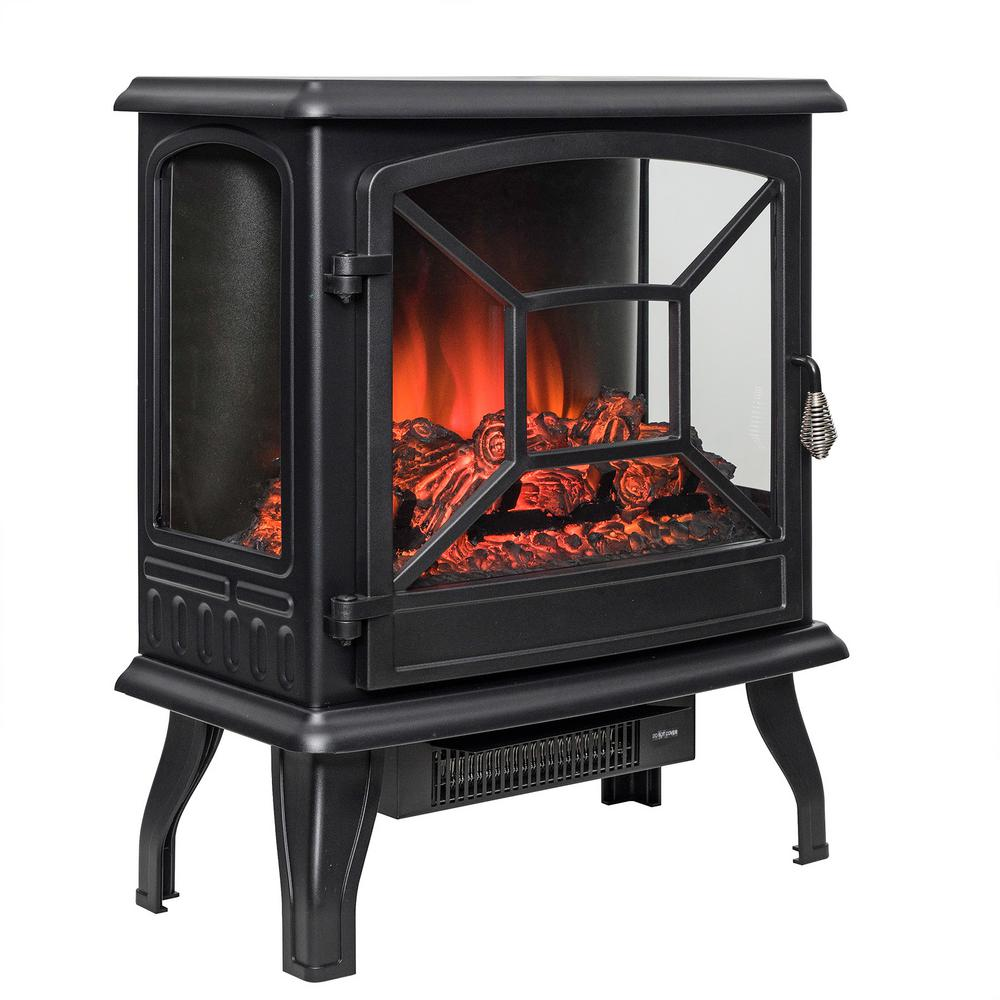 AKDY 20 in. Freestanding Electric Fireplace Mantel Heater in Black with Logs-HD-FP0084 - The ...