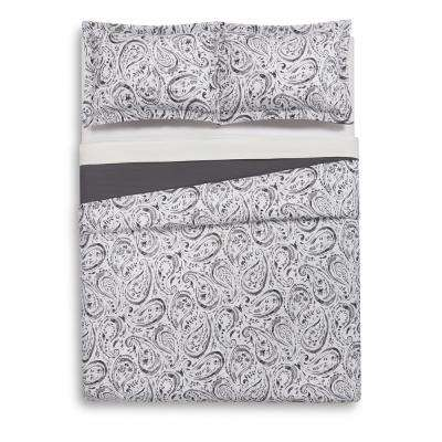 Watercolor Paisley Grey Twin Extra Long Duvet Set
