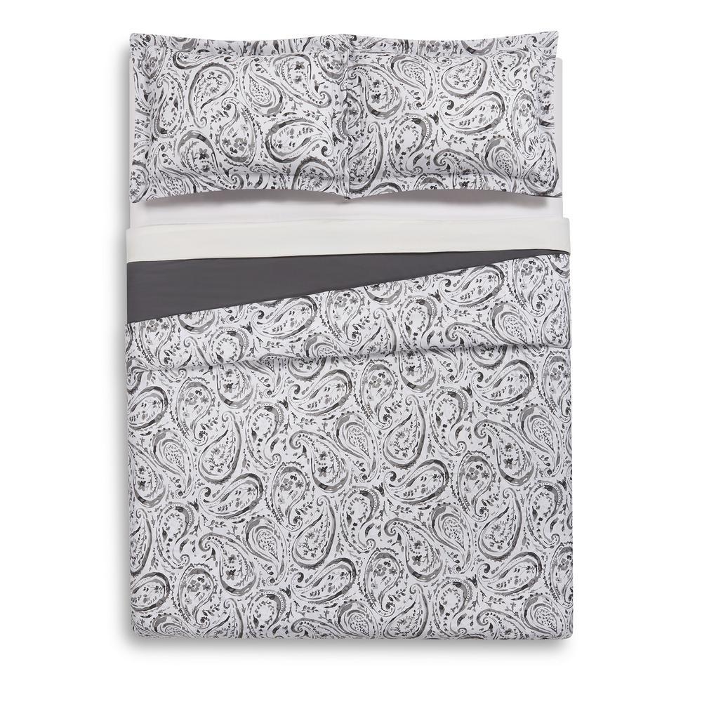 Watercolor Paisley Grey Twin Extra Long Duvet Set