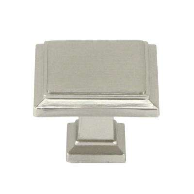 ROMA  Solid Square 1-1/4 in. (32 mm) Dia Brushed Nickel  Cabinet Knob (50-Pack)