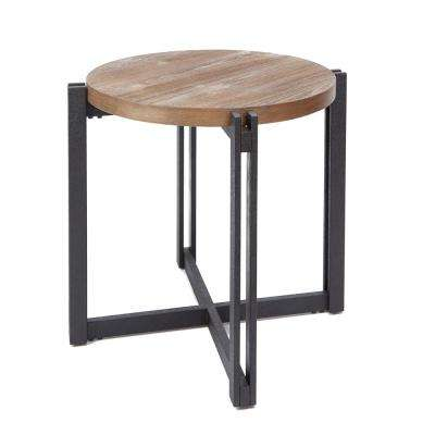 Dakota Gray and Brown End Table with Round Wood Top