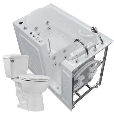 Nova Heated 52.8 in. Walk-In Whirlpool and Air Bath Tub in White with 1.28 GPF Single Flush Toilet