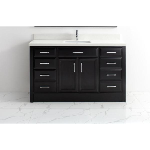 Calais 60 in. Vanity in Espresso with Solid Surface Vanity Top