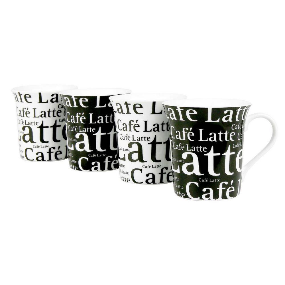 Konitz 4-Piece Assorted Cafe Latte Writing on Black and White Porcelain Mug Set