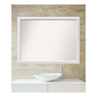Choose Your Custom Size 33 in. x 44 in. Blanco White Wood Framed Mirror