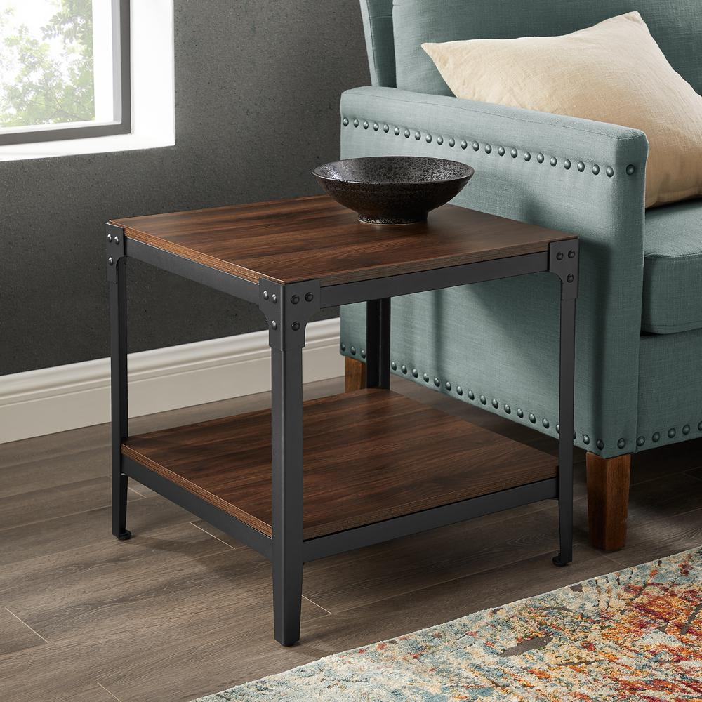 Rustic Wood Dark Walnut End Side Table (Set of 2)