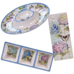 Hydrangea Garden 3-Piece Multi-Colored Hostess Set
