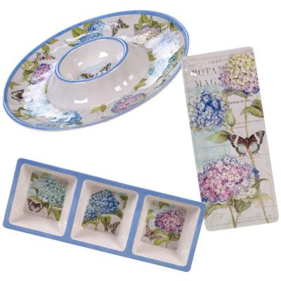 Hydrangea Garden 3-Piece Traditional Multi-colored Melamine Outdoor Hostess Set