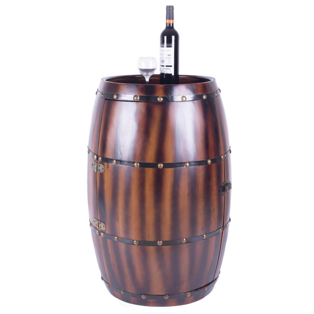 27-Bottle Decorative Wine Holder Wooden Wine Barrel Bar Cabinet End Table with Latch