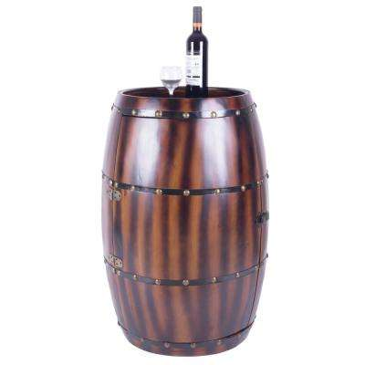 Wooden Wine Barrel Bar Cabinet End Table with Latch, 27 Bottle Decorative Wine Holder