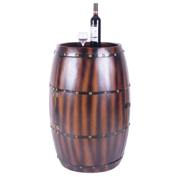 Vintiquewise 27-Bottle Decorative Wine Holder Wooden Wine Barrel Bar Cabinet End Table with Latch