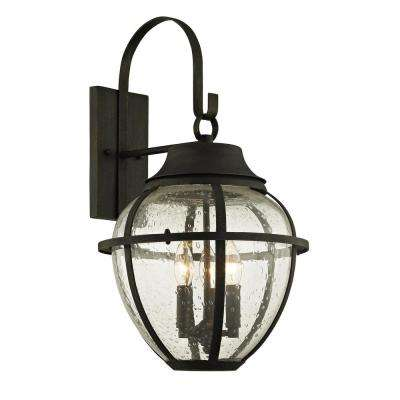 Bunker Hill 3-Light Vintage Bronze 23.75 in. H Outdoor Wall Mount Sconce with Clear Seeded Glass