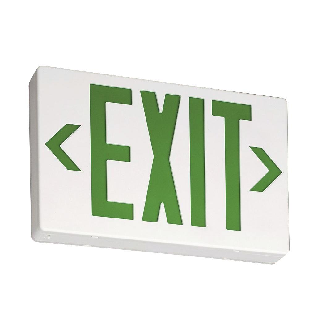 Lithonia Lighting Green Thermoplastic LED Emergency Exit Sign with – Exit Sign Wiring-diagram 277v