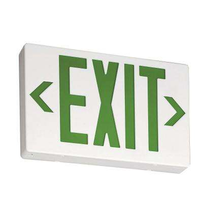Contractor Select EXG White Thermoplastic Integrated LED Emergency Exit Sign Light Green letters with Backup Battery