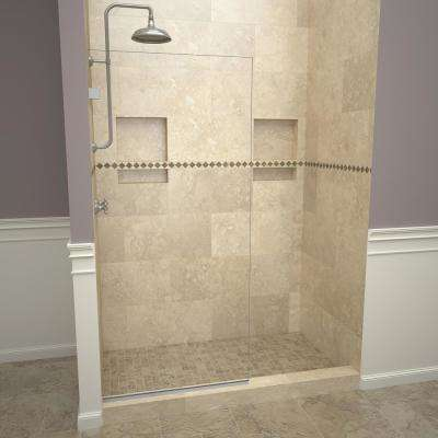 2300V Series 24 in. W x 76 in. H Semi-Frameless Fixed Shower Door in Brushed Nickel without handle