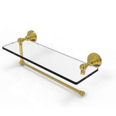 Waverly Place Collection 16 in. Paper Towel Holder with Glass Shelf in Unlacquered Brass
