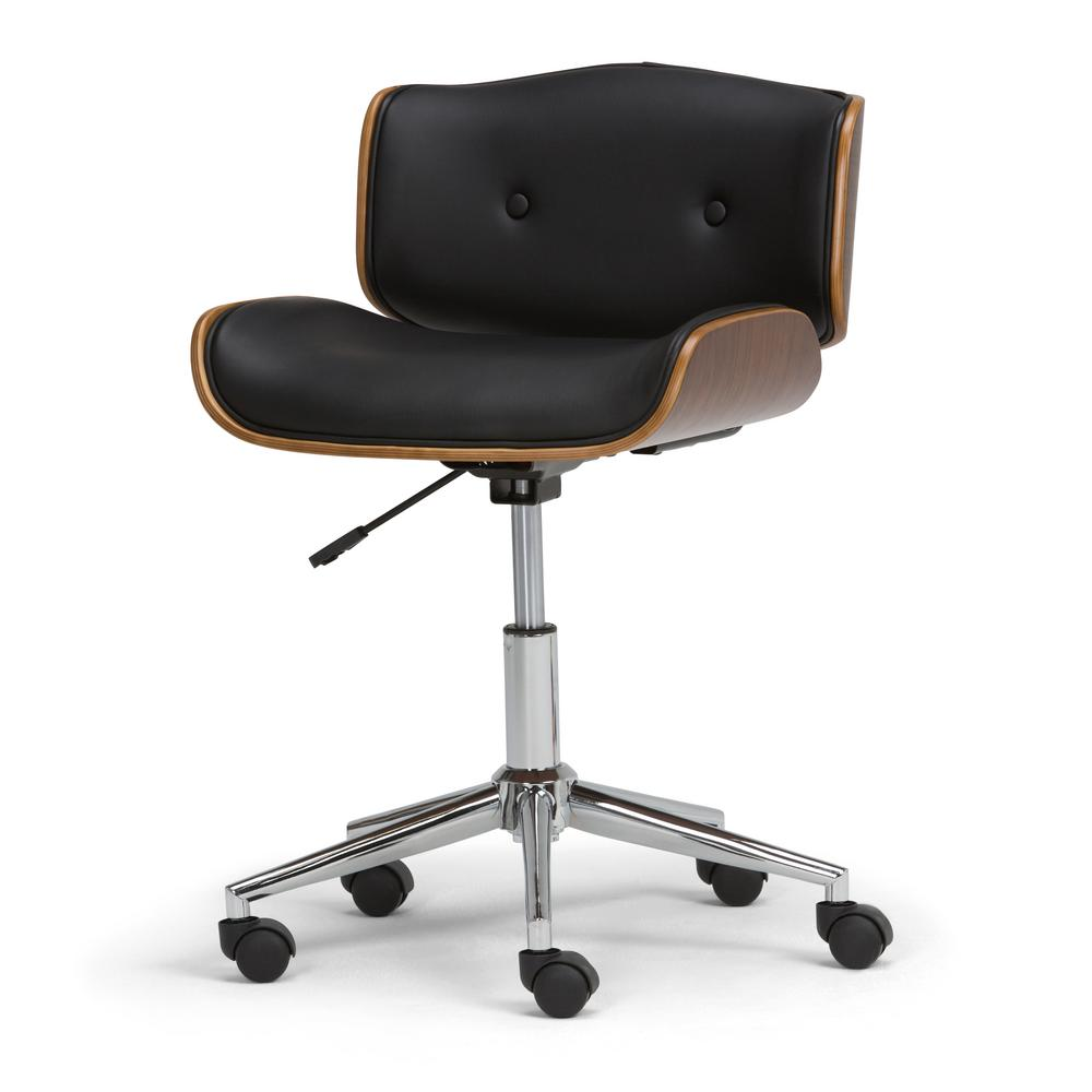 Simpli Home Dax Black And Natural Faux Leather Bentwood Office Chair Set Of 1