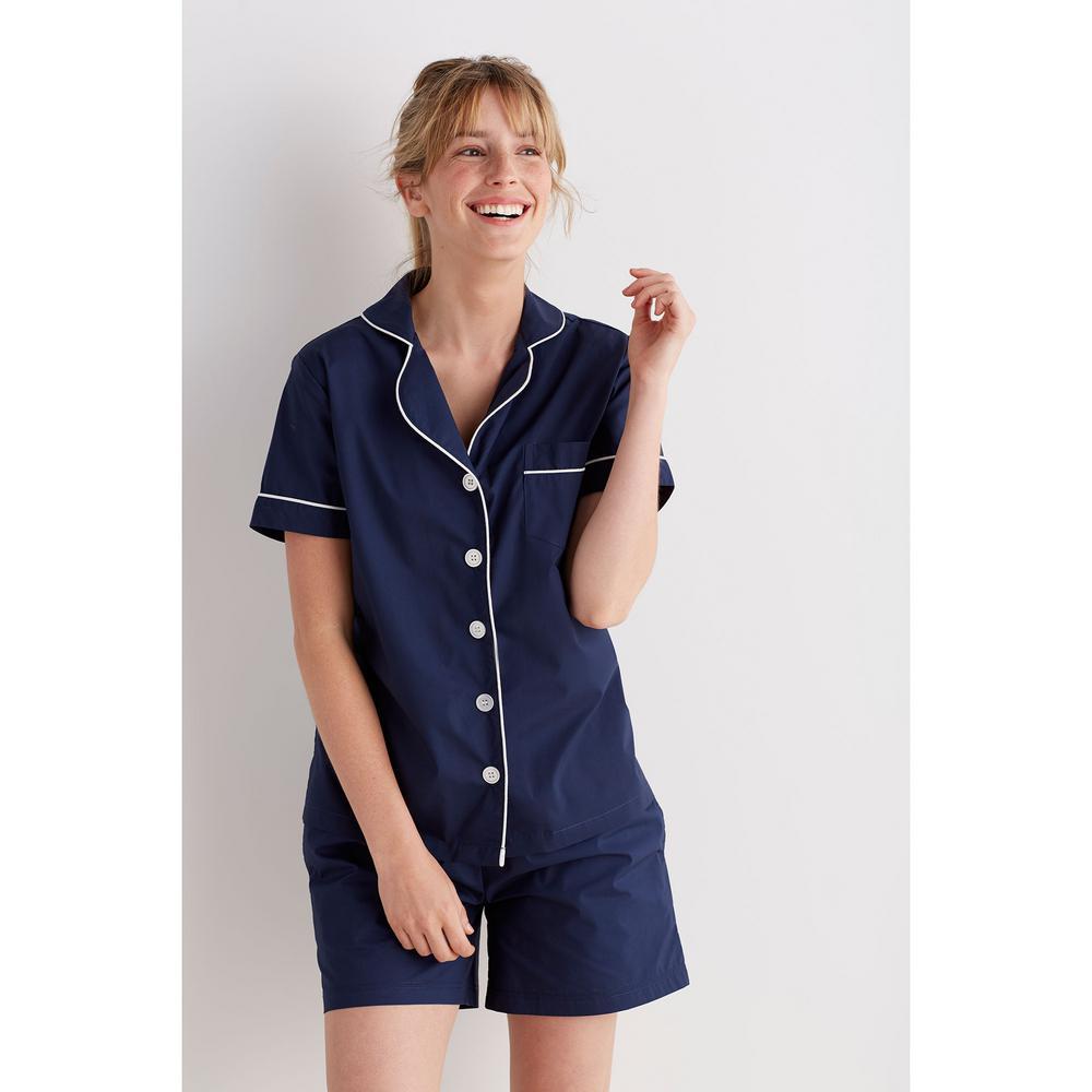 554db133aa The Company Store Solid Poplin Cotton Women's Large Navy Pajama Short Set
