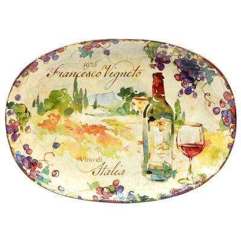 Vino 17.25 in. x 12.5 in. Multi-Colored Ceramic Oval Platter