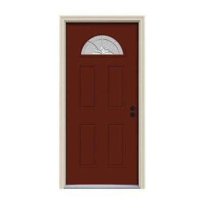 32 in. x 80 in. Fan Lite Langford Mesa Red Painted Steel Prehung Left-Hand Inswing Front Door w/Brickmould