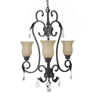 Vantage Collection 3-Light Sierra Slate Chandelier with Amber Glass Shade