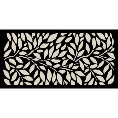 New Style MetalArt Laser Cut Metal Black TreeLeaves Privacy Fence Screen (24 in. x 48 in. per Piece 1-Piece)