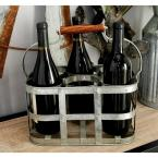 13 in. x 7 in. 6-Bottle Wine Holder with Handle in Hammered Steel Gray