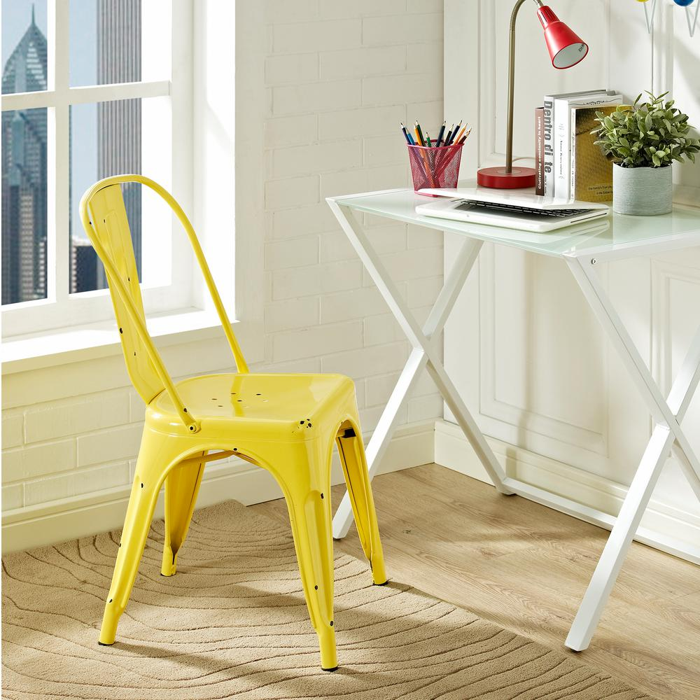 Walker Edison Furniture Company Antique Yellow Metal Dining Chair Hdh33mcyw The Home Depot