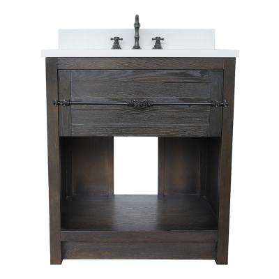 Plantation II 31 in. W x 22 in. D Bath Vanity in Brown with Quartz Vanity Top in White with White Oval Basin