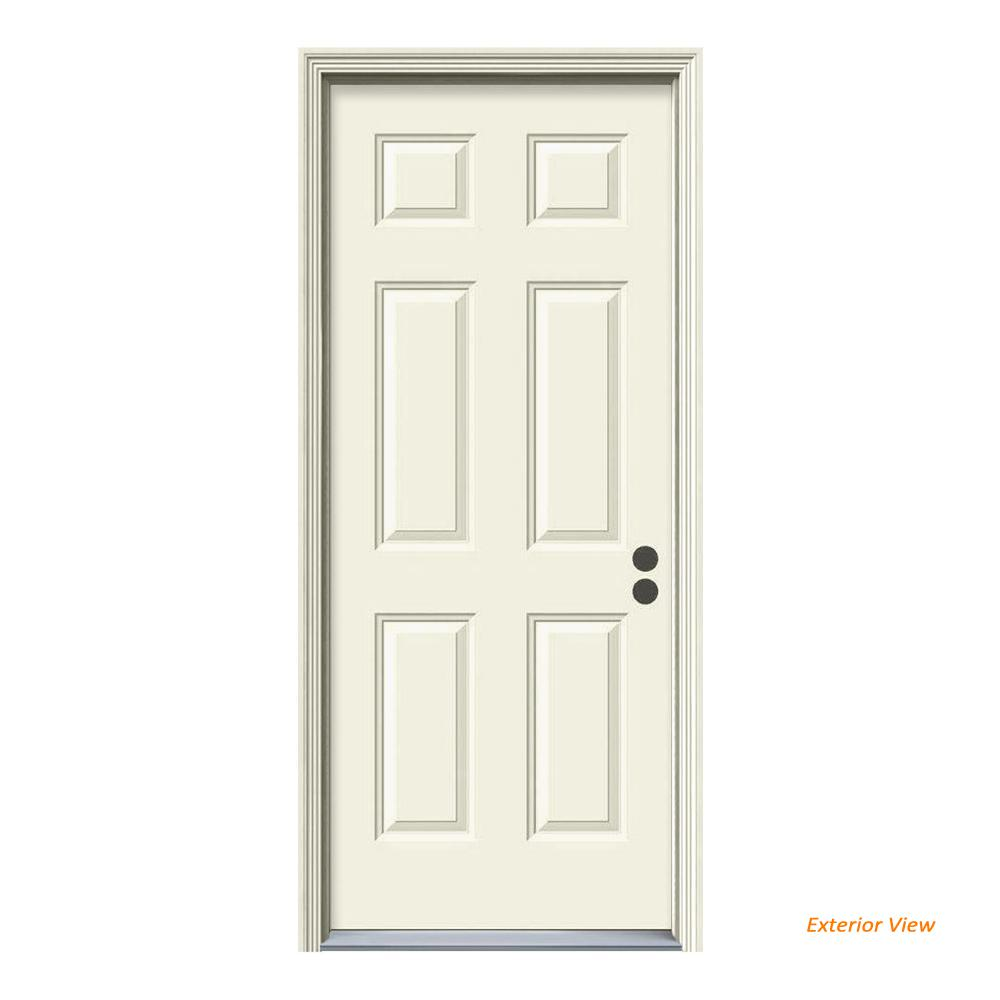 Jeld Wen 32 In X 80 In 6 Panel Primed 20 Minute Fire Rated Steel Prehung Left Hand Inswing Front Door W Brickmould Thdjw166100232 The Home Depot