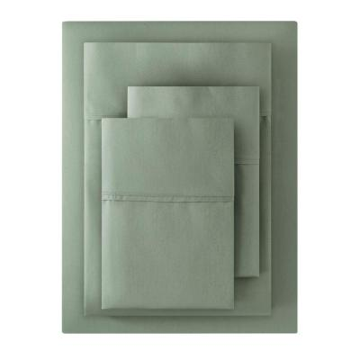 300 Thread Count Wrinkle Resistant American Cotton Sateen 4-Piece King Sheet Set in Willow Green
