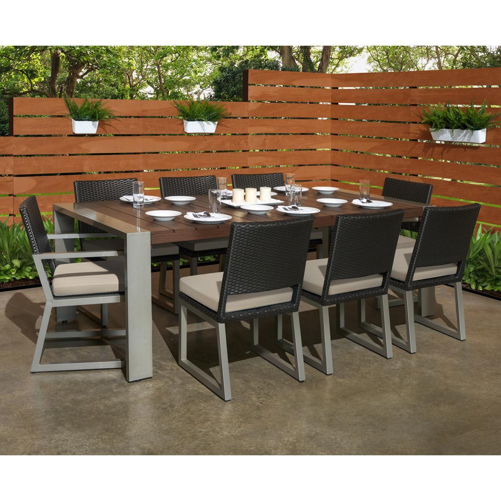 Milo Espresso 9-Piece Wicker Outdoor Dining Set with Slate Grey Cushions