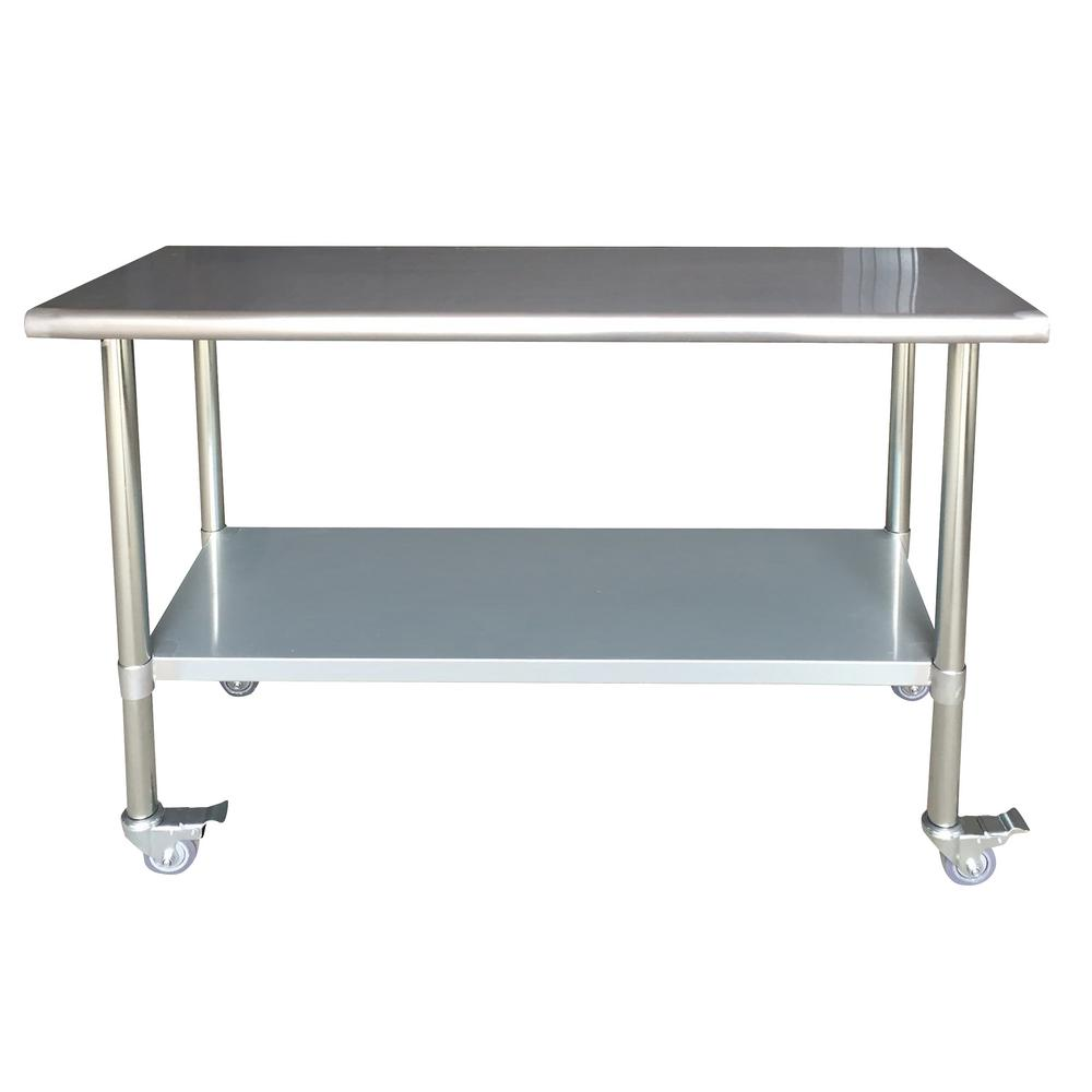 Sportsman stainless steel kitchen utility table with locking casters 802771 the home depot - Stainless kitchen tables ...