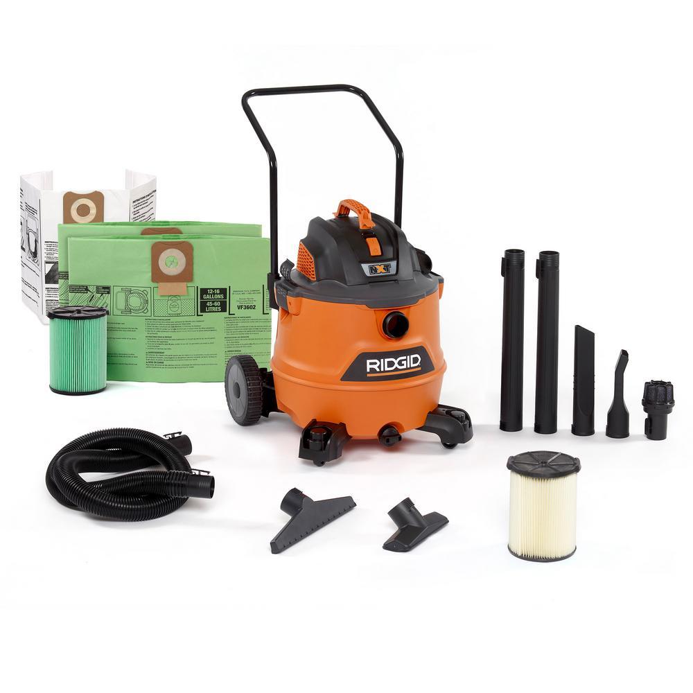 16 Gal. 6.5-Peak HP NXT Wet/Dry Shop Vacuum, Filter, Hose, Accessories, OSHA and HEPA Filtration Kit