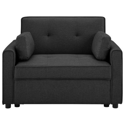 Cali 39.4in. Charcoal Solid Serta Fabric Convertible 1-Seater Sofa with Lounger and Pullout Bed