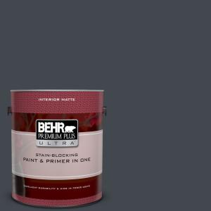 1 gal. #N490-7 Ink Black Matte Interior Paint and Primer in One