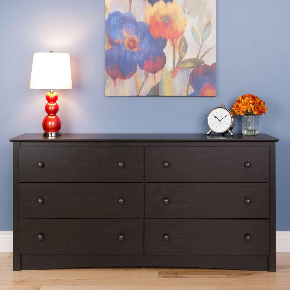 Prepac Sonoma 6 Drawer Washed Black Dresser