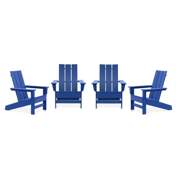 Aria Royal Blue Recycled Plastic Modern Adirondack Chair (4-Pack)