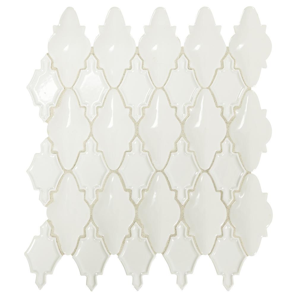 Premier Accents Alabaster Arabesque 12 in. x 14 in. x 12 mm Porcelain Mosaic Tile