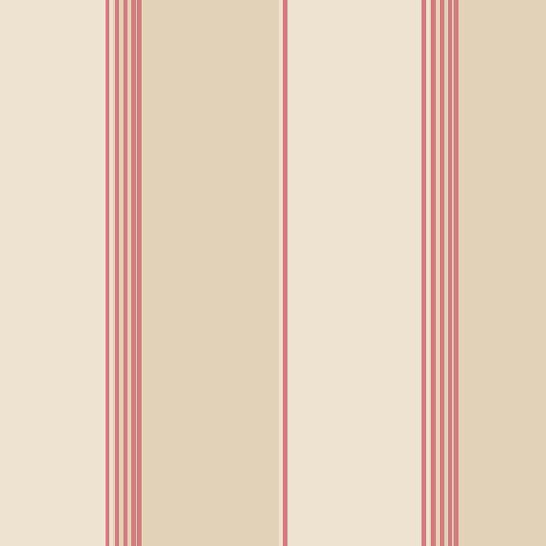 Norwall Red, Cream and Tan Pure Stripe Wallpaper