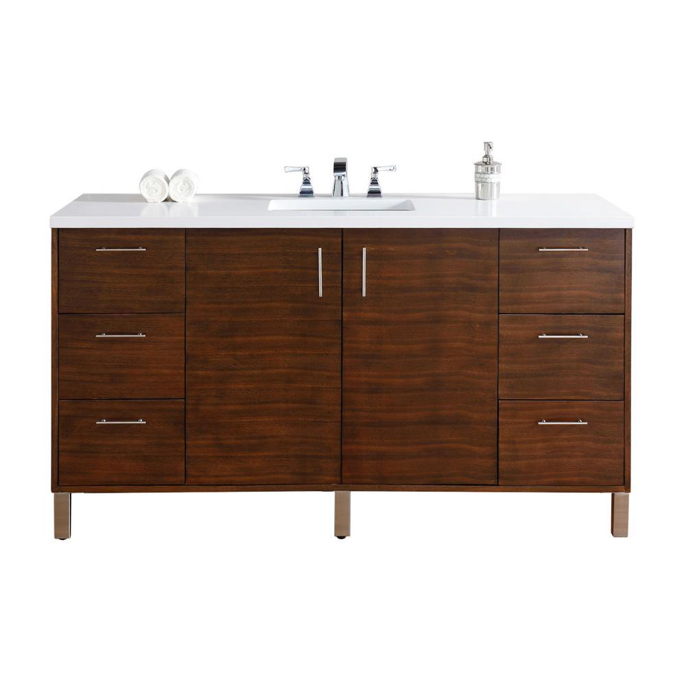 Metropolitan 60 in. W Single Vanity in American Walnut with Quartz Vanity Top in White with White Basin