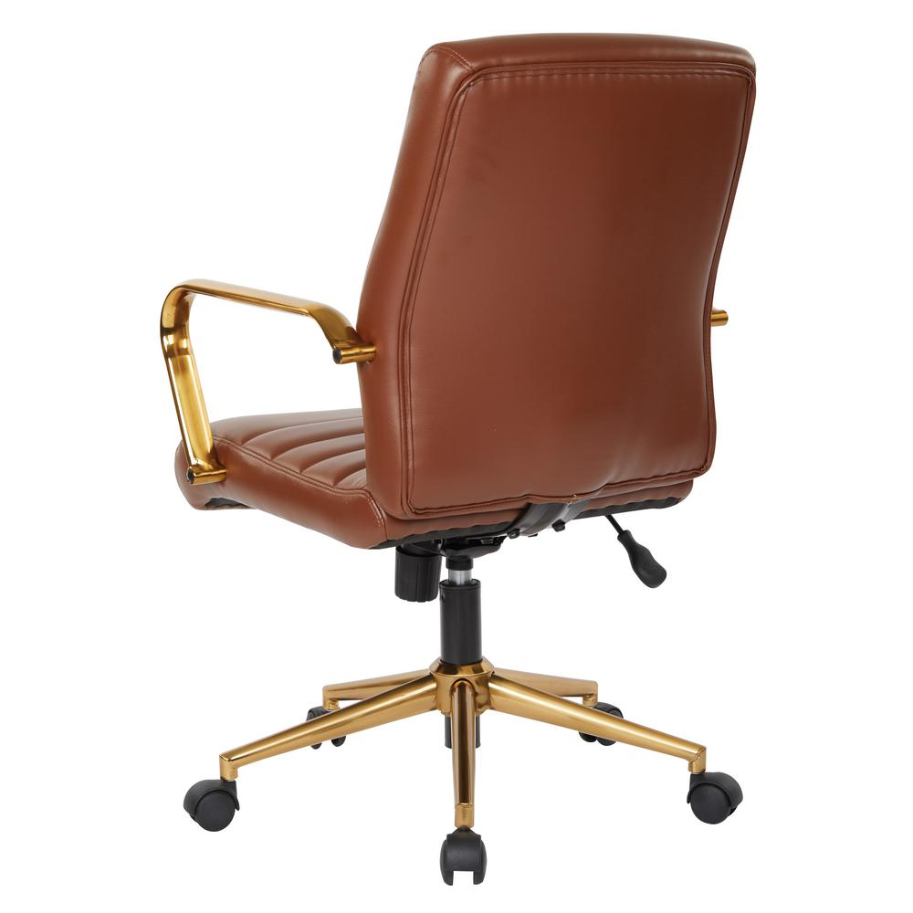 6fa0c0190 Mid-Back Saddle Faux Leather Chair with Gold Arms and Base. by OSP Home  Furnishings