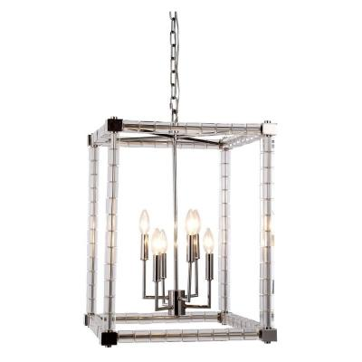 Cristal 6-Light Polished Nickel Crystal Clear Pendant