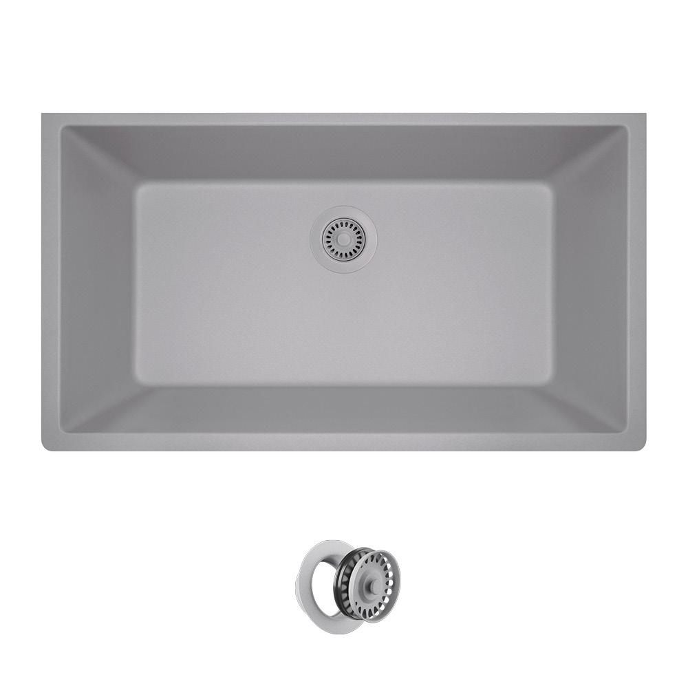 All In One Undermount Composite 33 Single Bowl Kitchen Sink Silver