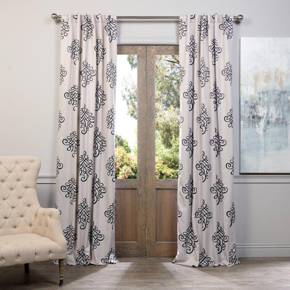 Semi-Opaque Tugra Blackout Curtain - 50 in. W x 84 in. L (Panel)