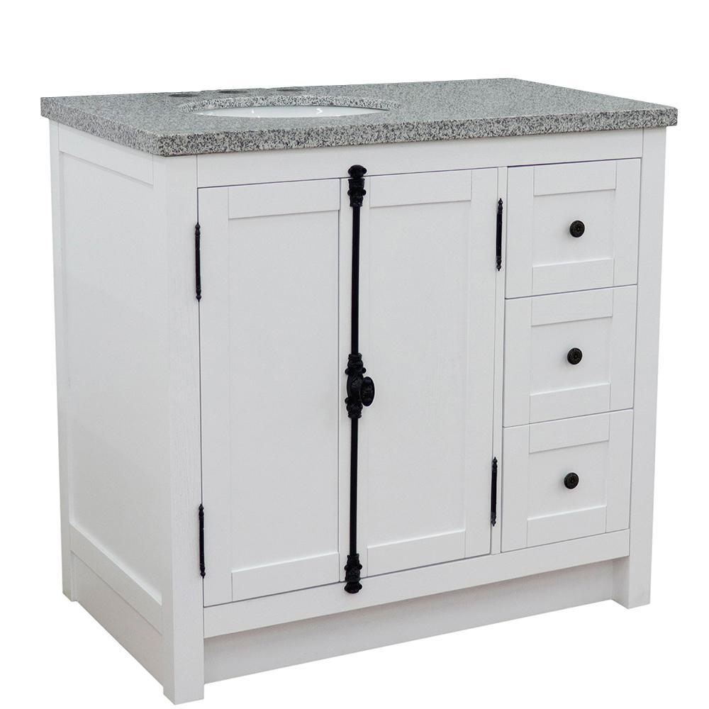 37 in. W x 22 in. D x 36 in. H Bath Vanity in Glacier Ash with Gray Granite Vanity Top and Left Side Oval Sink