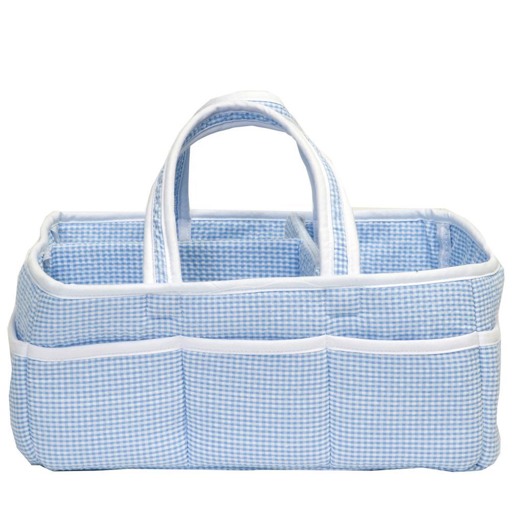 Blue Gingham Seersucker Storage Caddy