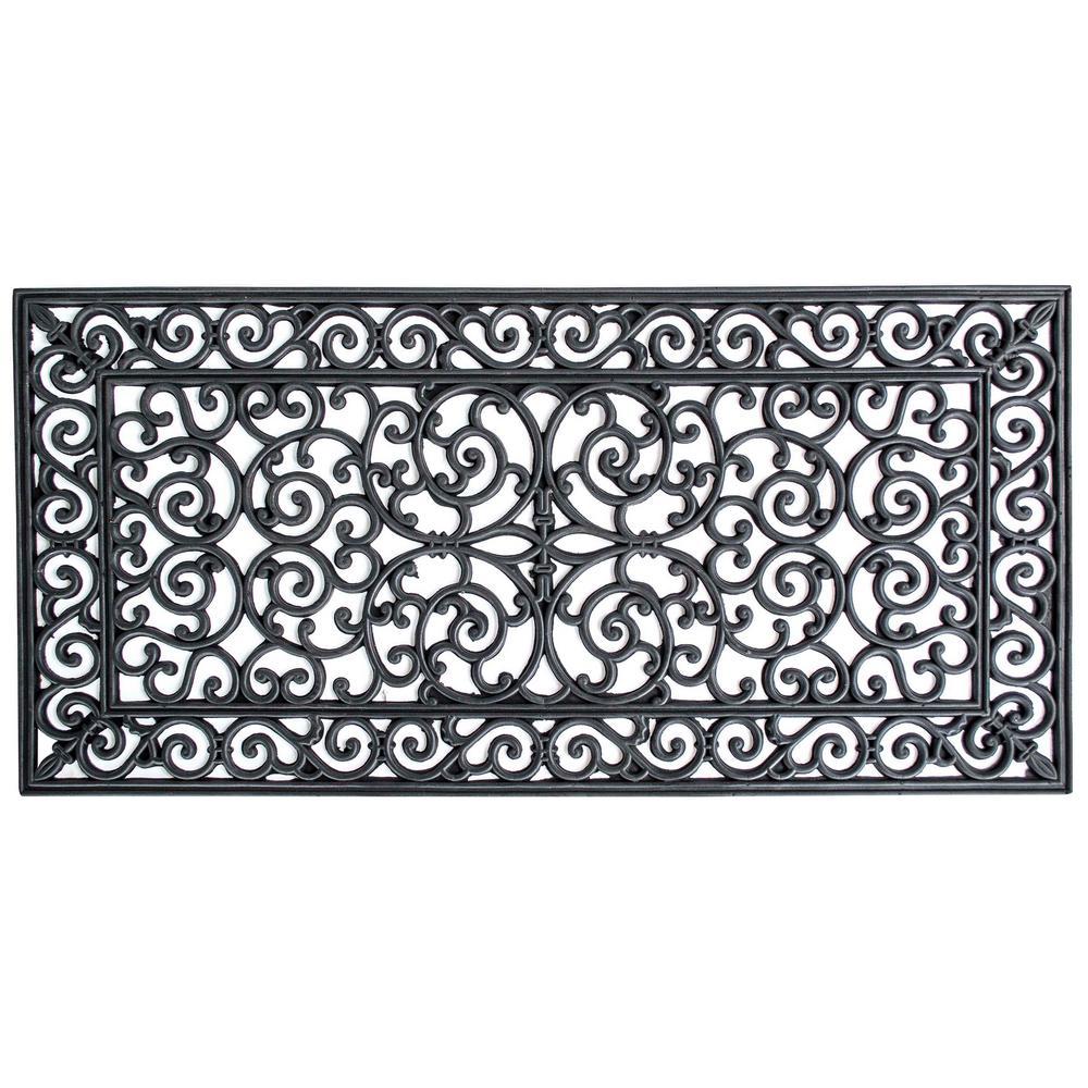 24 in. x 48 in. Decorative Scrollwork Indoor/Outdoor Entryway Rubber Door Mat